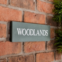 Slate House Sign 1 line 35.5 x 10cm - smoky green slate