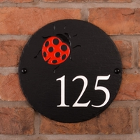 Round Rustic Slate House Number with Ladybird Image