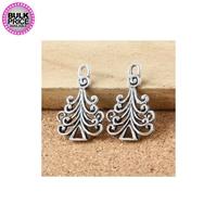 Metal Charms - Swirl Christmas Trees (8)