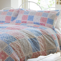 Vintage Patchwork, Tile Print Super King Size Bedding - 100% Cotton