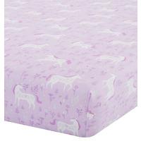 Catherine Lansfield Folk Unicorn Single Fitted Sheet Pink
