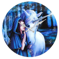Solace Glass, Blue Unicorn Wall Clock