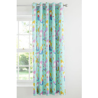 Catherine Lansfield Mermaid Cotton Rich Curtains Blue 66 x 72 inch