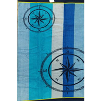 Blue Compass Beach Towel 90 x 170 cm - 100% Cotton