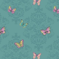 Damask Butterflies Wallpaper - Teal