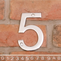 10cm Contemporary Chrome House Numbers