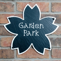 Flower Shaped Rustic Slate House Sign