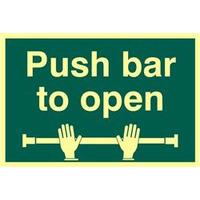 ASEC Push Bar To Open 200mm x 300mm PVC Self Adhesive Photo luminescent Sign - 1 Per Sheet