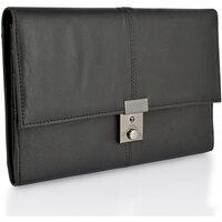 Lorenz Unisex Genuine Leather Passport Holder / Travel Document Case - Black