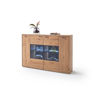 Portia 184cm Oak Highboard/ Tall Sideboard With LED