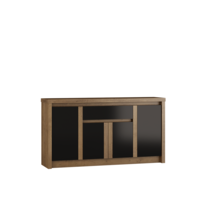 Andrella 166cm Wide Oak And Black Gloss Sideboard