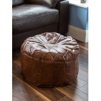 Brown Floral Pouffe Footstool