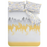 Catherine Lansfield City Scape Ochre, Double Bedding Set