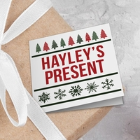 Christmas Tree Pattern Photo Gift Tags - Pack of 8