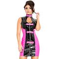 PVC Black  Pink Night Racer Mini Dress