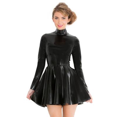 Fabulous High Neck Skater Latex Dress