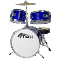 Tiger 3 Piece Junior Drum Kit - Drum Set for Kids in Blue