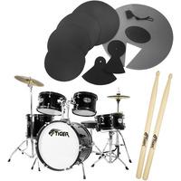 Tiger Junior 5 Piece Black Drum Kit with Silencer Pads