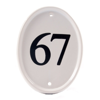 White Oval Ceramic Engraved Number 16.5 x12.5cm