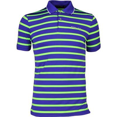 RLX Golf Shirt Striped Airflow Flag Royal Lime SS17