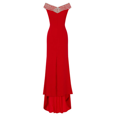 Nazz Collection Celine Red Glitter Bardot Middle Slit Fishtail Maxi Dress