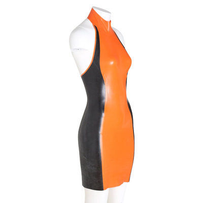 Black and Orange Latex Halter Dress S