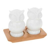 Joe Davies White Bamboo Owl Cruet Set