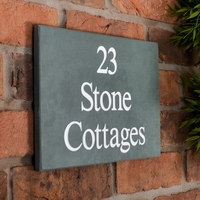 Slate House Sign 3 line 30.5 x 20cm - smoky green slate