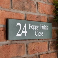 Slate Address Sign 1 line 40.5 x 10cm - smoky green slate