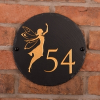 Round Rustic Slate House Number with Golden Fairy Image
