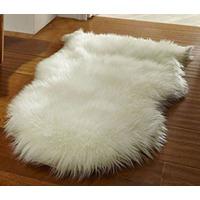 Faux Fur Sheepskin Rug in Cream - 60 x 90 cm