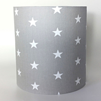 Grey with White Stars Medium Fabric Light Shade