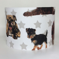 English Bulldog and Friends Large Fabric Light Shade