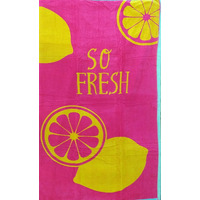 Pink, Lemon Beach Towel 90 x 170 cm - 100% Cotton
