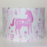 Folk Unicorn, Large Fabric Light Shade