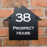 House Shaped Rustic Slate House Sign