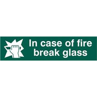 ASEC In Case Of Fire Break Glass 200mm x 50mm PVC Self Adhesive Sign. - 1 Per Sheet