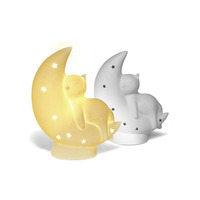 3D Ceramic Night Light - Cat on the moon