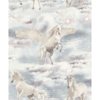 Unicorn Kingdom, Glitter Wallpaper - Grey
