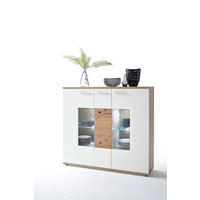 Nizima 150cm Oak And White Highboard With Display