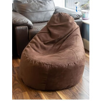 Brown Faux Suede Pear Shaped Large Bean Bag