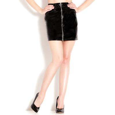 PVC Silver Zip Mini Skirt Black