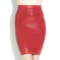 Lipstick Latex Pencil Skirt