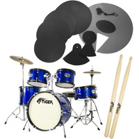 Tiger Junior 5 Piece Blue Drum Kit with Silencer Pads