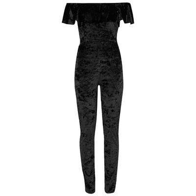 Nazz Collection Veronica Black Crushed Velvet Bardot Frill Jumpsuit