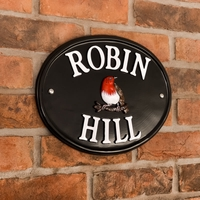 Black Oval Aluminium House Sign 33 x 25cm (WA2)