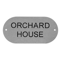 Stainless Steel Oval House Sign 20 x 10cm