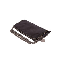 Stella Inspired Style Metallic Faux Suede Clutch Bag - Black
