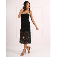 Forever Unique Tabby Pencil Dress With Lace Overlay - Black-Small