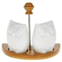 Joe Davies White Owl Cruet Set with Bamboo Stand